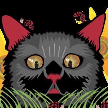 Too Many Ladybugs - Black Cat Horizontal