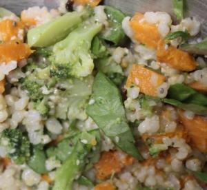 Kale, veg rice salad