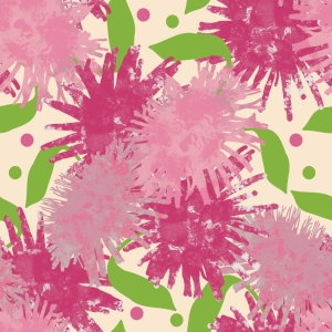 Pink Puffs Flowers Pattern